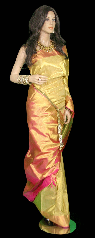Tissue silk saree brilliant gold tissue kanjeevaram bridal saree  sarees  pinterest