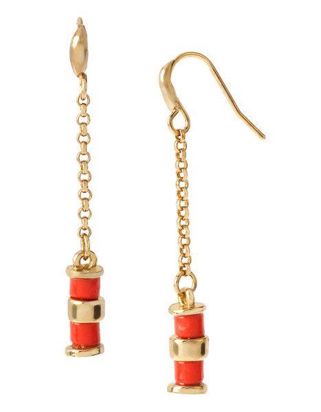 DIANE VON FURSTENBERG Paloma Beach Spokes Coral Earrings