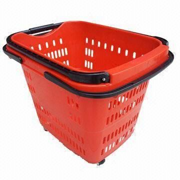 Plastic Shopping Basket With Wheels For Grocery Store They Had