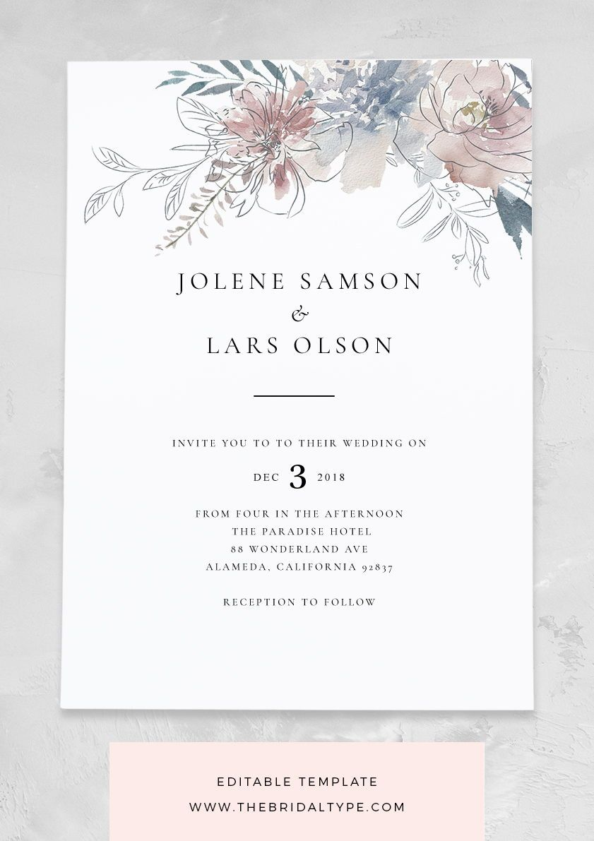 Floral Wedding Invitation Template Watercolor Invitations Wedding