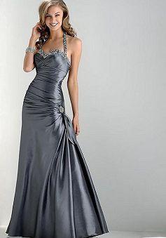 A line Halter Zipper Back Satin Floor Length Sleeveless Dress - Angeldress.co.uk