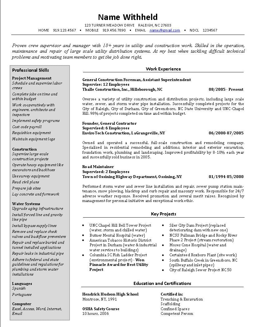 Example Job Resume Crew Supervisor Resume Example Sample Construction Resumes Related