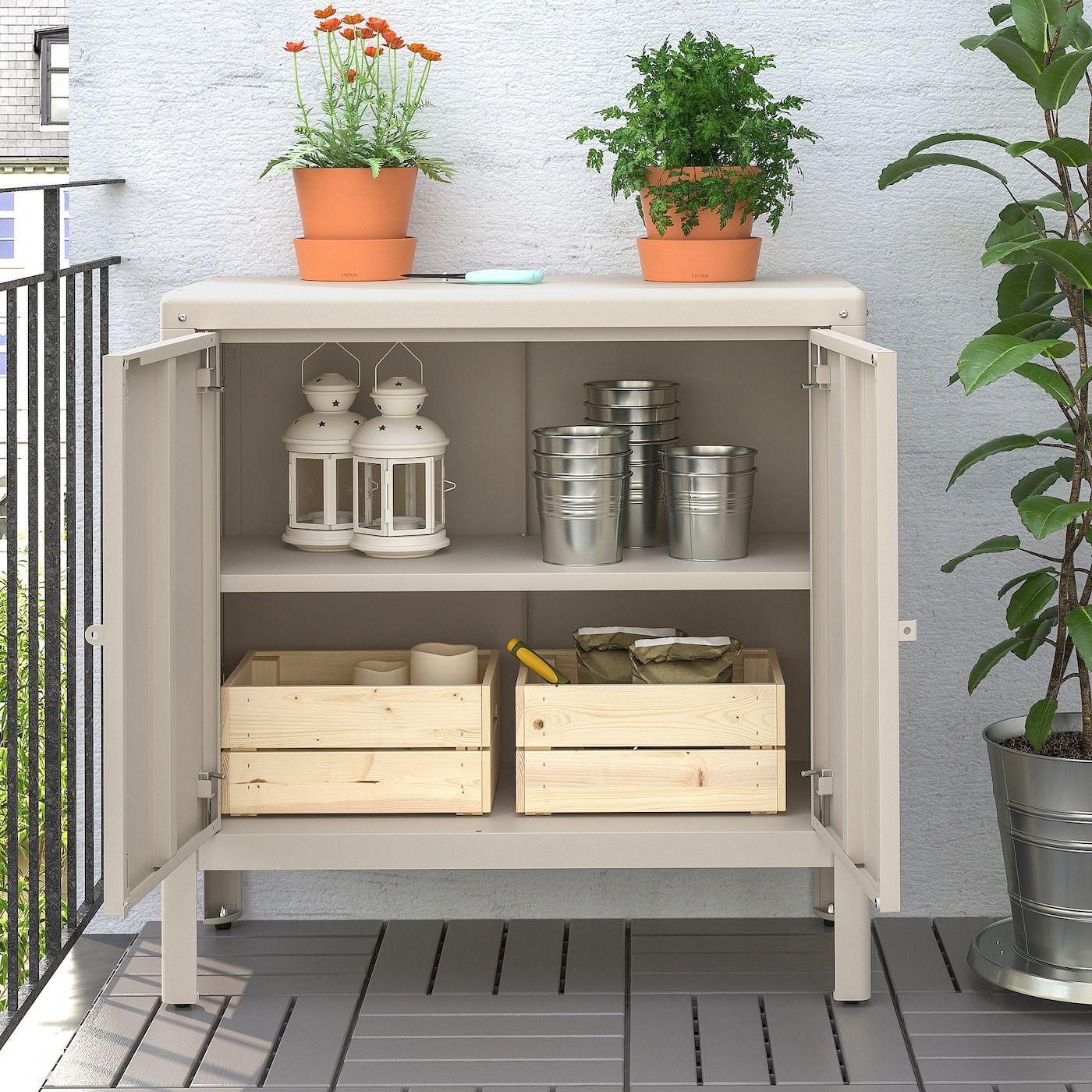 Kolbjorn Kast Binnen Buiten Beige 80x81 Cm Ikea In 2020 Outdoor Storage Cabinet Ikea Outdoor Outdoor Cabinet