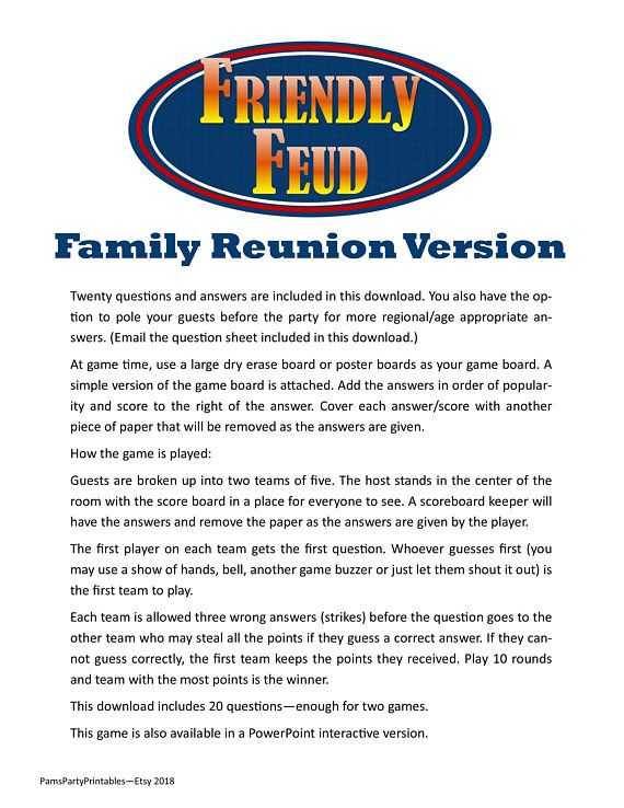 photo regarding Family Feud Printable identified as Loved ones Reunion Family members Feud Contains Queries Options
