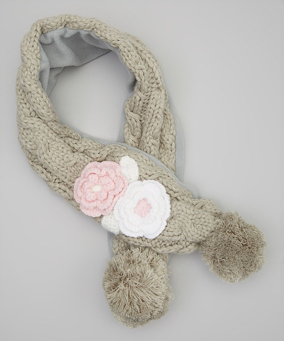 Take a look at this Marili Jean Gray Flower Fleece-Lined Scarf today ...