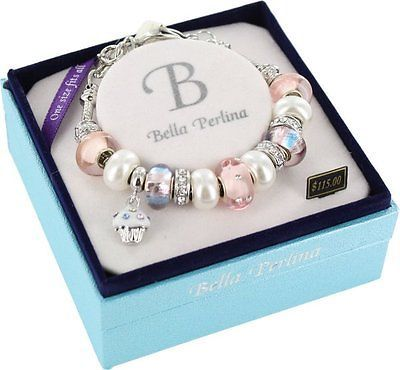 BigFashion-BELLA-PERLINA-Pink-Stripes-with-Cupcake-Charm-Bracelet