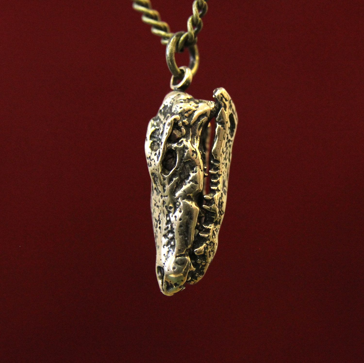 54a2dc459e7 Saltwater Crocodile Skull Pendant Necklace In Solid Bronze. $32.00, via  Etsy.