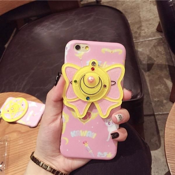 Cute Hard Cover 3D Crown Heart Start Mirror Pearl Detailing iPhone Case
