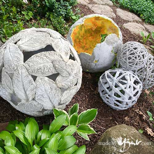 DIY Gigantic Concrete Leaf Orb  Made By Barb  lightweight Garden Sphere is part of Concrete garden Art - Make a unique textural garden ornament that is lightweight and has great lighting possibilities  Easy project using fastset concrete