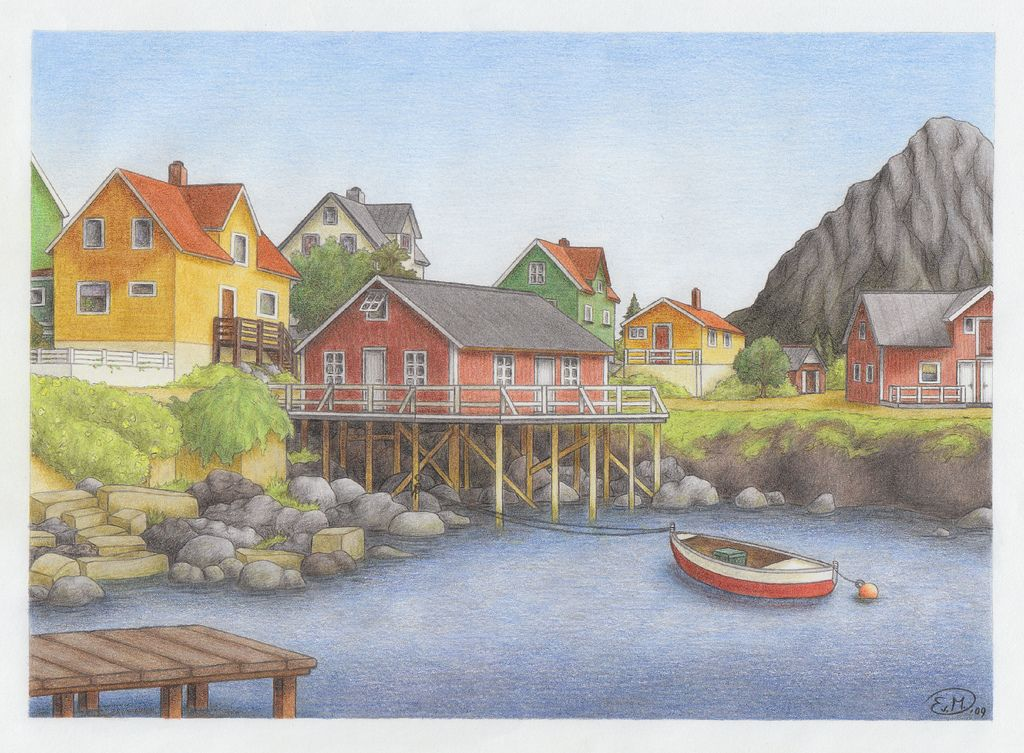 Drawing Landscapes With Coloured Pencils Images Colorful