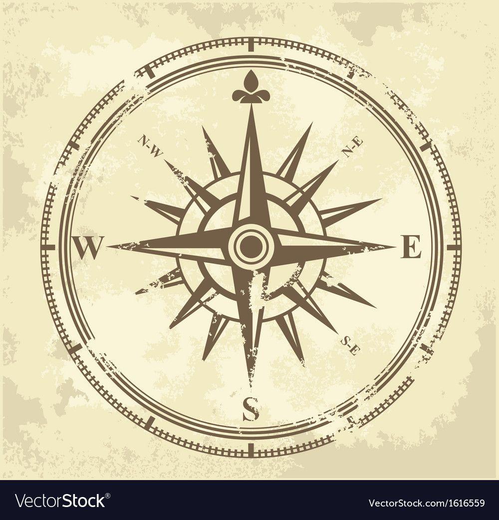 Vintage Compass Vector Image On Vectorstock In 2020 Vintage Compass Compass Vector Color Vector