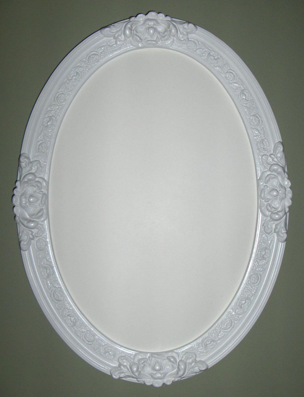 White frame wall oval mirror. (bathroom mirror, dresser,vanity ...