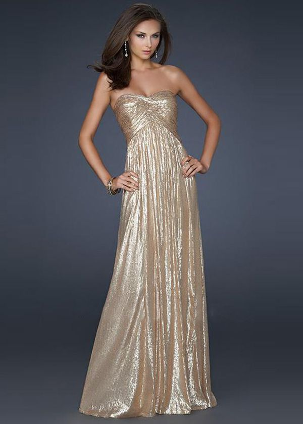 La Femme 17085 Shinning Gold Sequined Long Prom Dress Sale ...