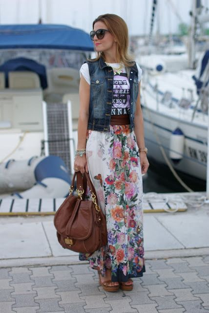 Bershka gilet jeans, floral maxi skirt, wedges, boho look, Fashion and Cookies