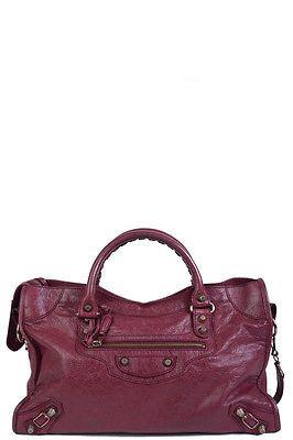 Balenciaga Wine City Handbag W Rose Gold Hardware