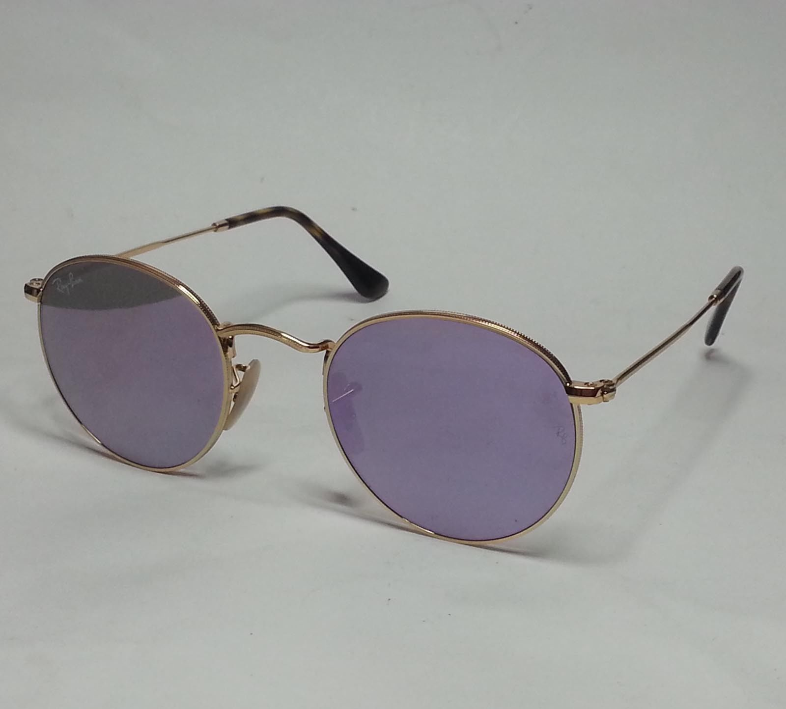 e58106143aec  men Ray-Ban Men sunglasses RB 3447 Round Metal Gold Frame Purple Mirrored  Lens