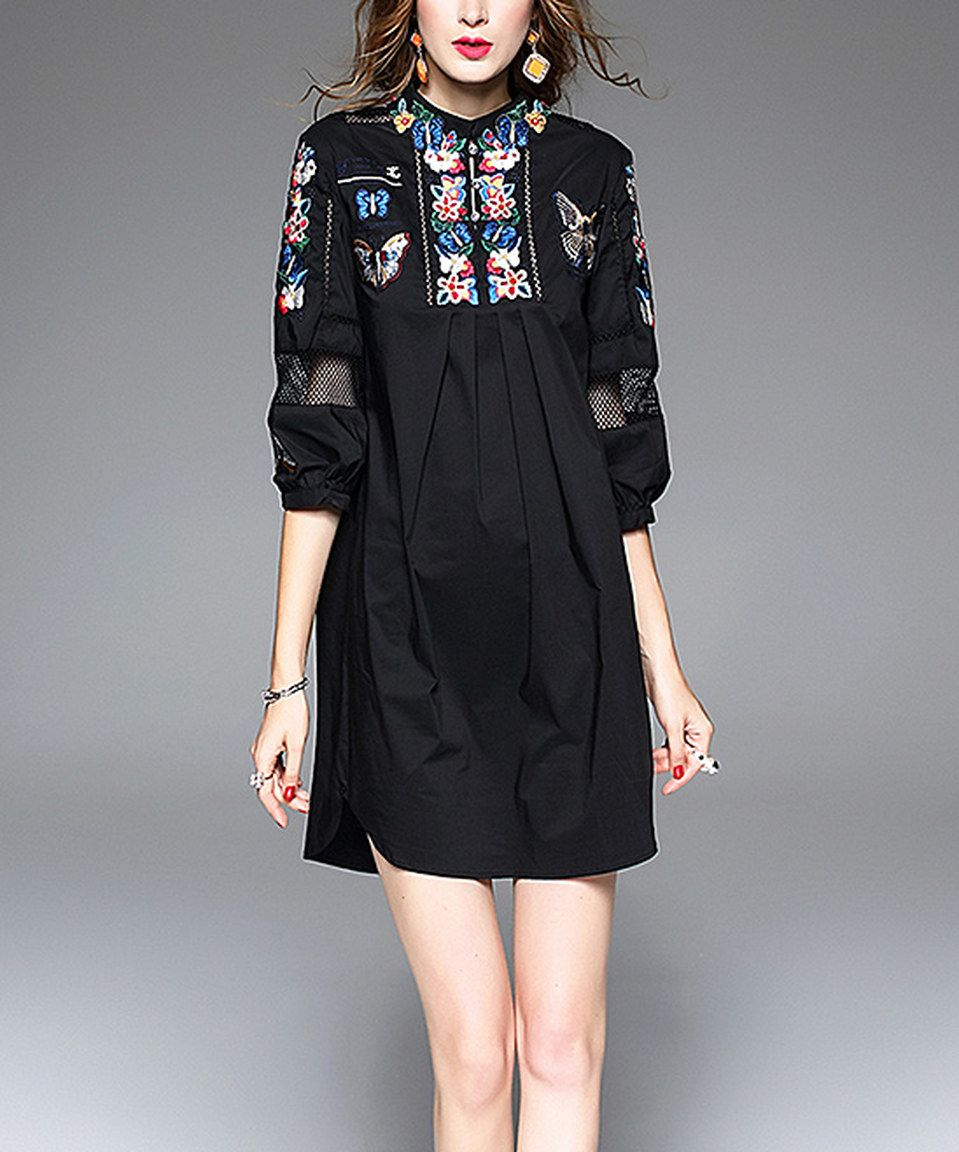 Take a look at this Black Embroidered Round-Collar Shirt Dress today!