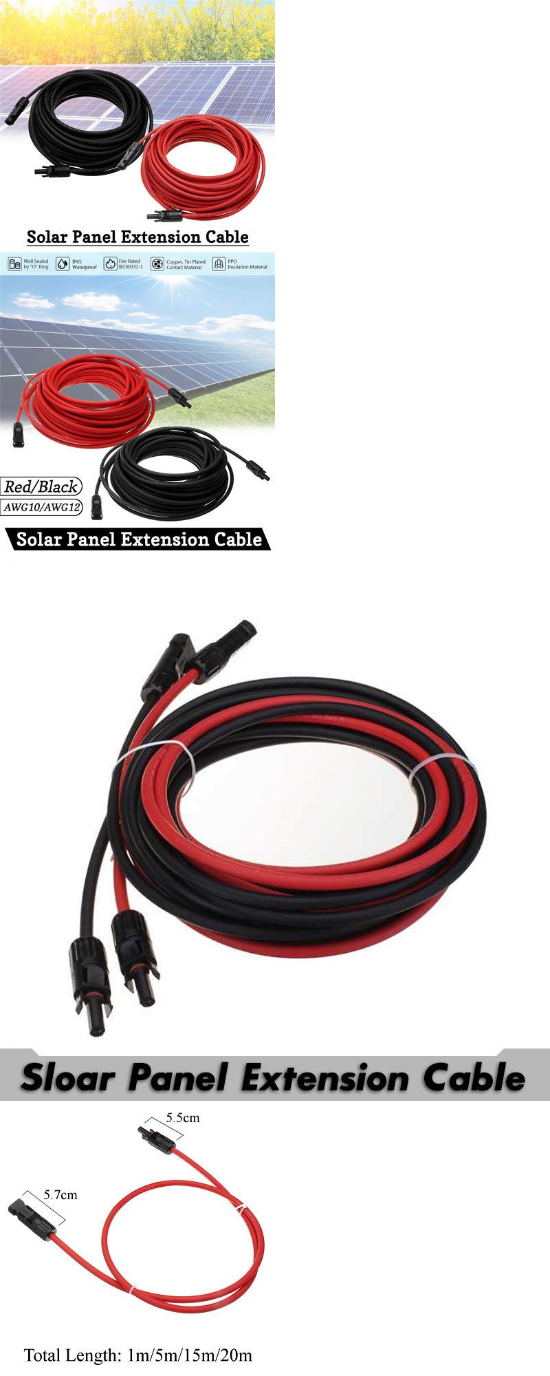 Connectors And Ties 41982 1 Pair 10 12awg Solar Panel Extension Cord Mc4 Connection Cable Line Connector Buy It Now Onl Extension Cord Connector Connectors
