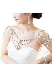 Wiipu Women Wedding Jewelry Crystal Rhinestone Shoulder Deco Bra Strap Halter Necklace(a1012)