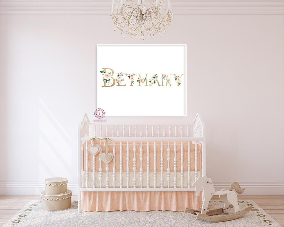 Baby Name Blush Gold Personalized Wall Art Print Nursery Floral ...