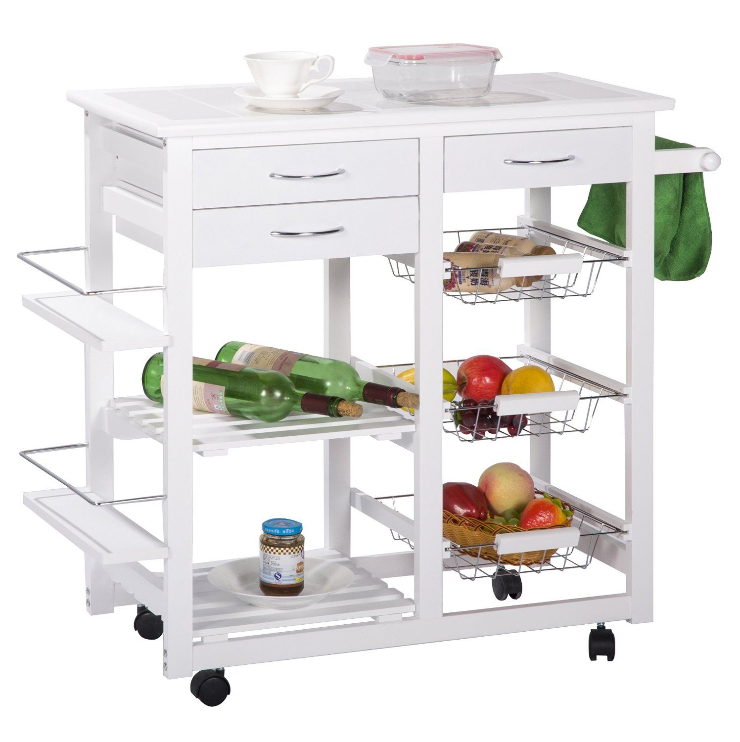 Merax Tile Top Mobile Kitchen Cart Island With Drawers Cabinet Storage White Finish