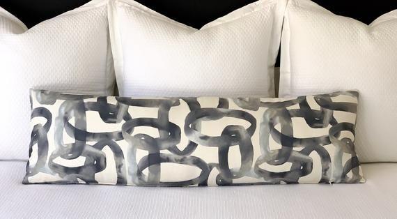 Gray Extra Long Lumbar Pillow | Modern Geometric Abstract Pillow Cover
