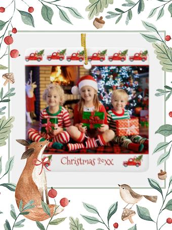 Custom 2-Sided Children Photo Red Truck Christmas Ceramic Ornament    Custom 2-Sided Children Photo Red Truck Christmas Ceramic Ornament