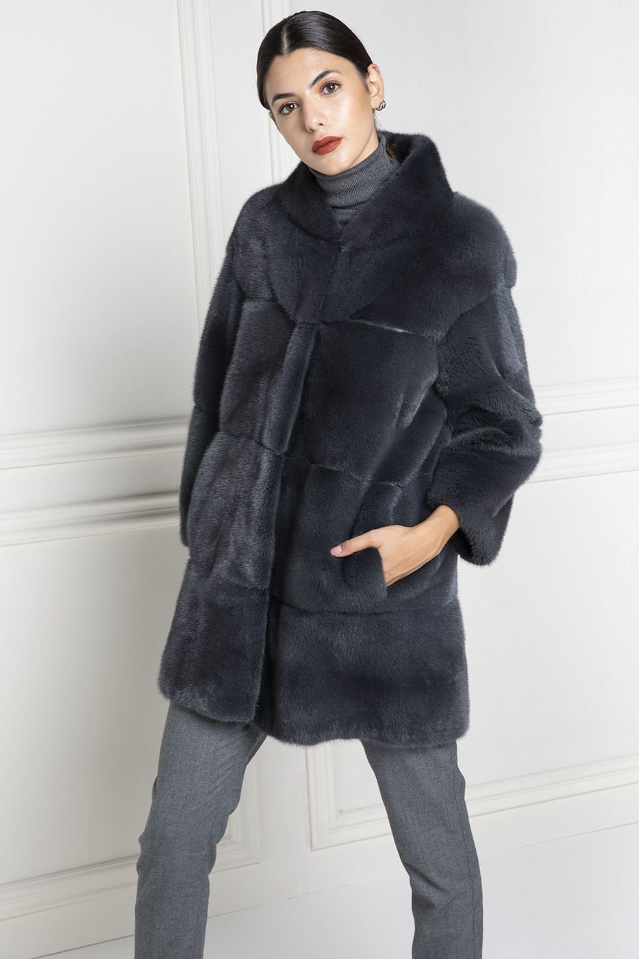 Grey Mink Coat - Length 85 cm - Elpidio Loffredo Furs  0a0276cc129