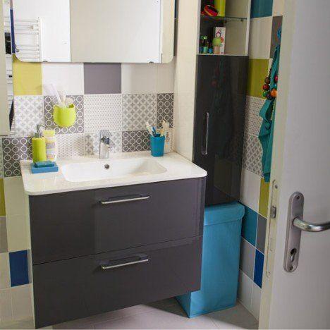 Meuble de salle de bains Happy gris zingué n°1 81x46 cm, 2 tiroirs ...