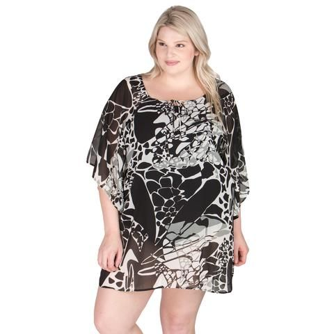 87692c5aba245 Black and White Plus Size Cover-Up - Rebecca From Peppermint Bay ...