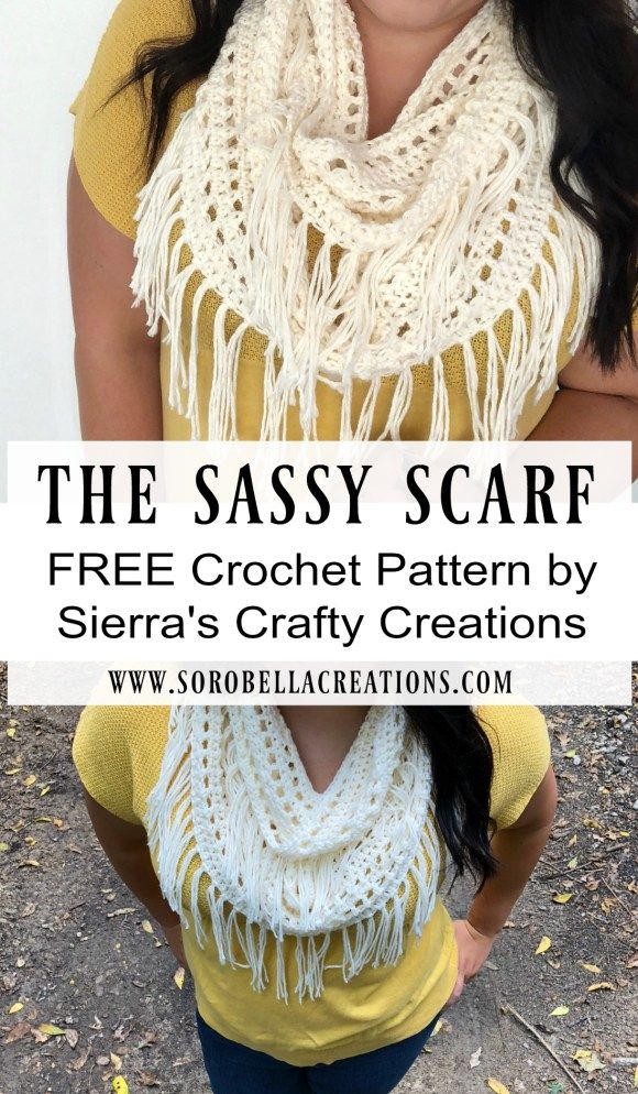 The Sassy Scarf - Crochet Fringe Scarf Pattern #crochetscarves