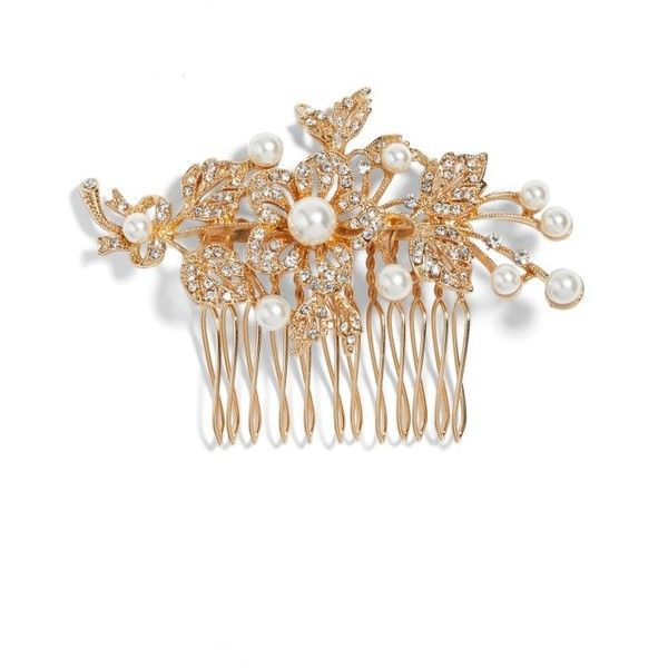 Women's Nina Ladee Crystal & Imitation Pearl Floral Comb ($55) ❤ liked on Polyvore featuring accessories, hair accessories, gold, sparkly hair accessories, floral hair accessories, crystal hair comb, crystal hair accessories and hair comb