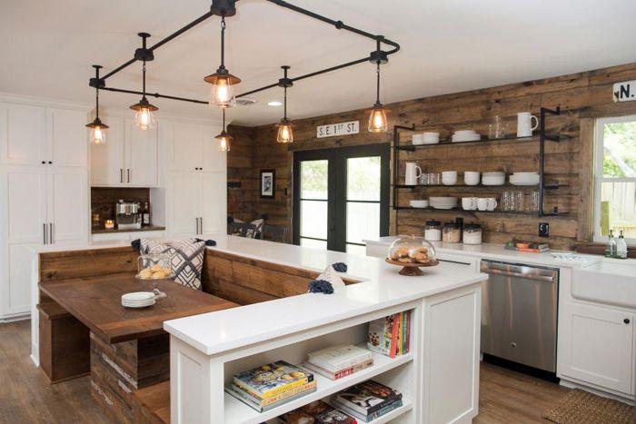 Fixer upper mid century lighting mid century kitchens for Joanna gaines style kitchen