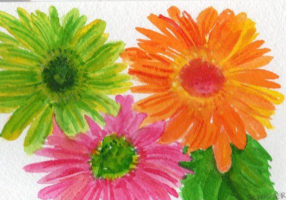 Hot Pink Lime Green And Orange Gerbera Daisies Painting Original