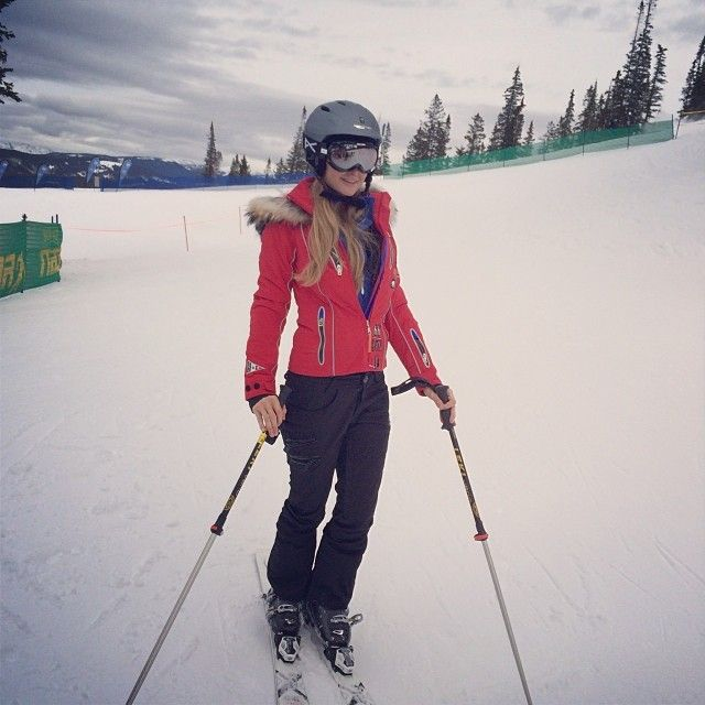 Celebrity ski outfits 2019 with red