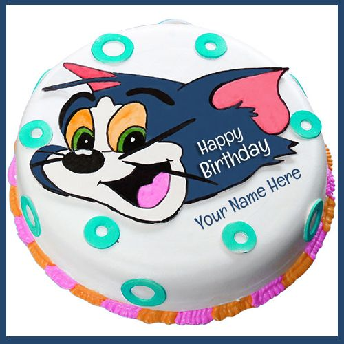 Print Name On Tom And Jerry Cartoon Birthday Cake For Lezina