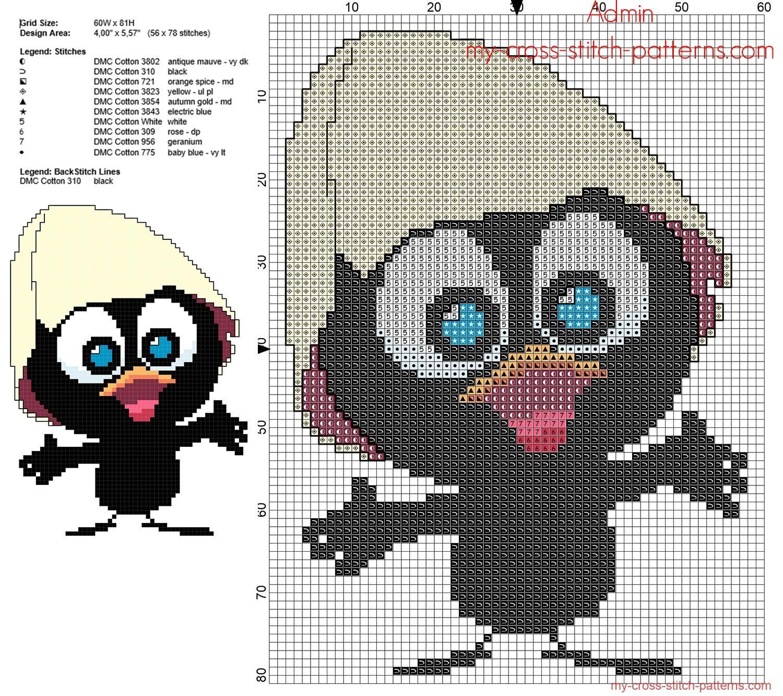 Assez Calimero 3D dessin anime italienne grille point de croix gratuite  ID31