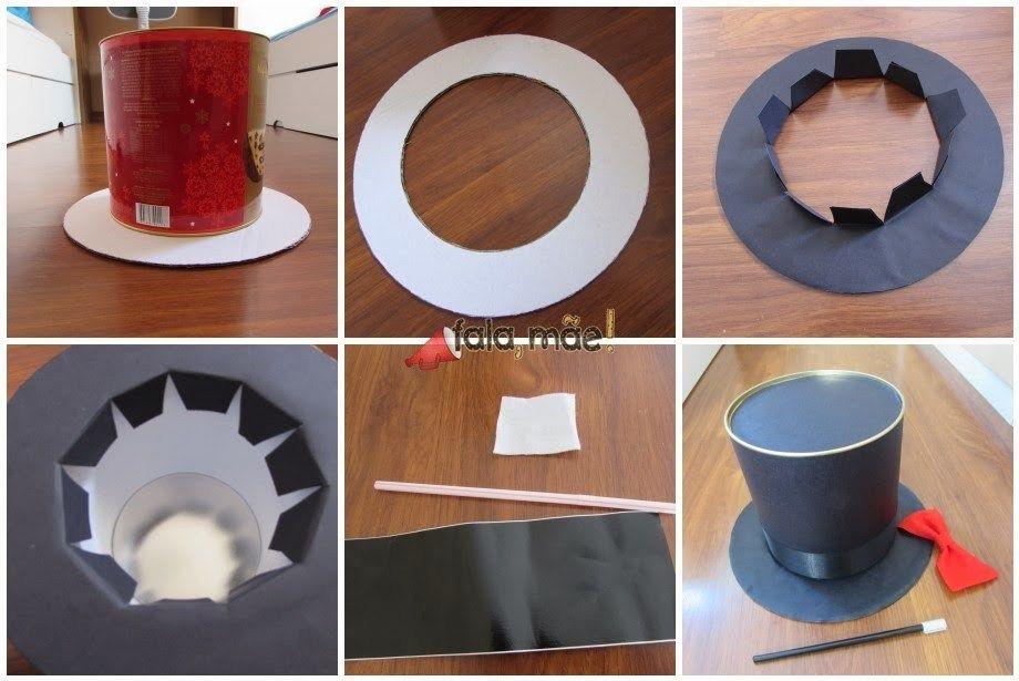 3d9e0b8a28df8 Passo a passo de como fazer uma cartola (e um traje completo) de mágico  usando uma lata de panetone como base