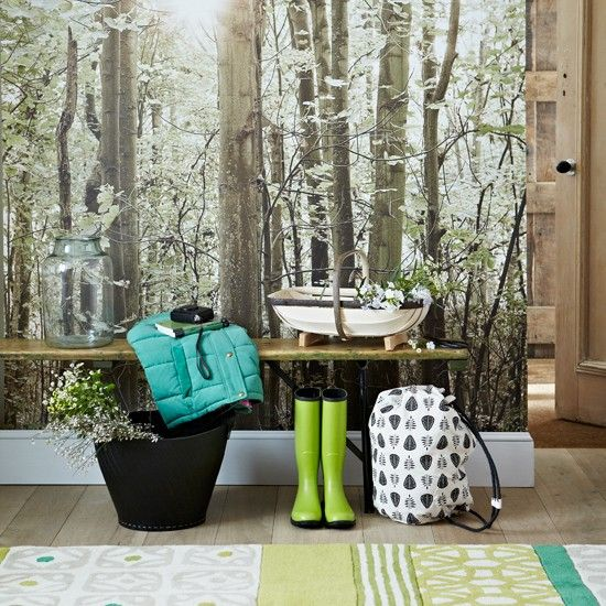 Country Hallway With Woodland Wallpaper Design Room Ideas Housetohome Co Uk