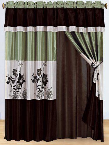 3 Layer Modern Sage Green Beige Brown Pin Tuck Curtain Window