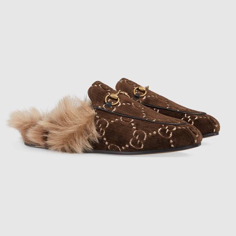8dbe38ca6e2 Gucci - Princetown GG velvet slippers in brown velvet (€ 750)