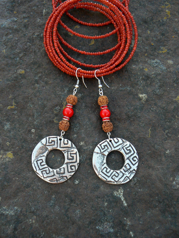 Rudraksha Earrings Hindu Symbol Vedic Spiritual Jewelry Silver Round C