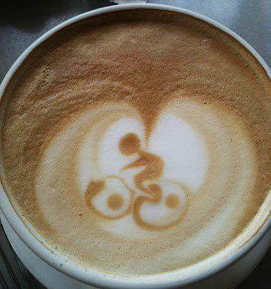 Bike cup of coffee. Bicycles Love Girls. http://bicycleslovegirls.tumblr.com