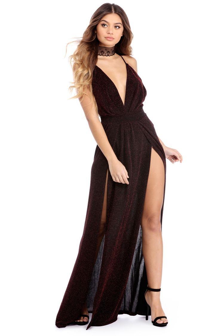 Kelly black metallic glitter dress neckline