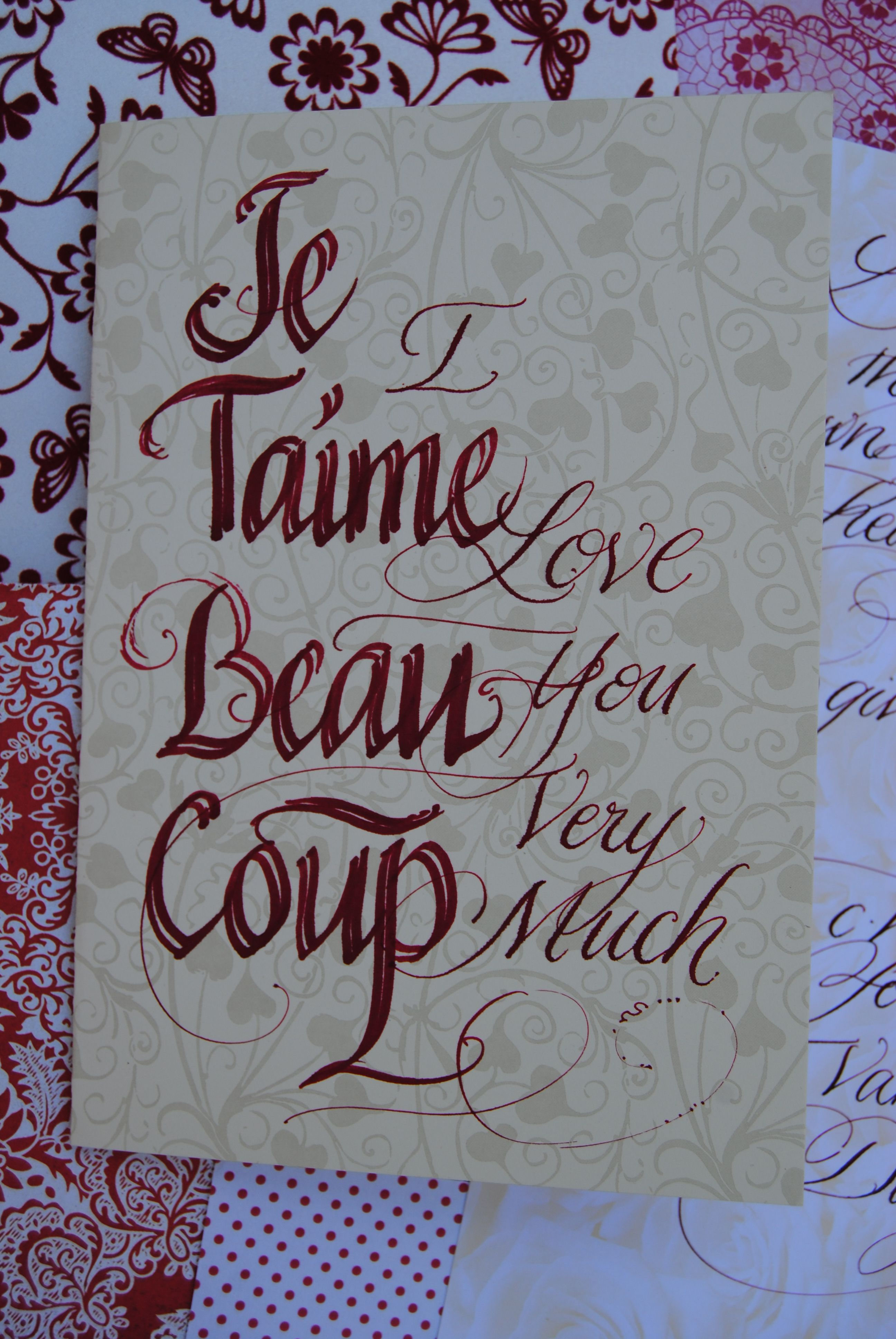 Hand made card by me with calligraphy to win the heart of the one you love.Even better on the day of the wedding. www.beautifulwriting.com.au