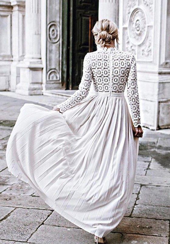 Weiß Spitzenkleid Maxi Chiffonkleid Für Hochzeitsgast ...