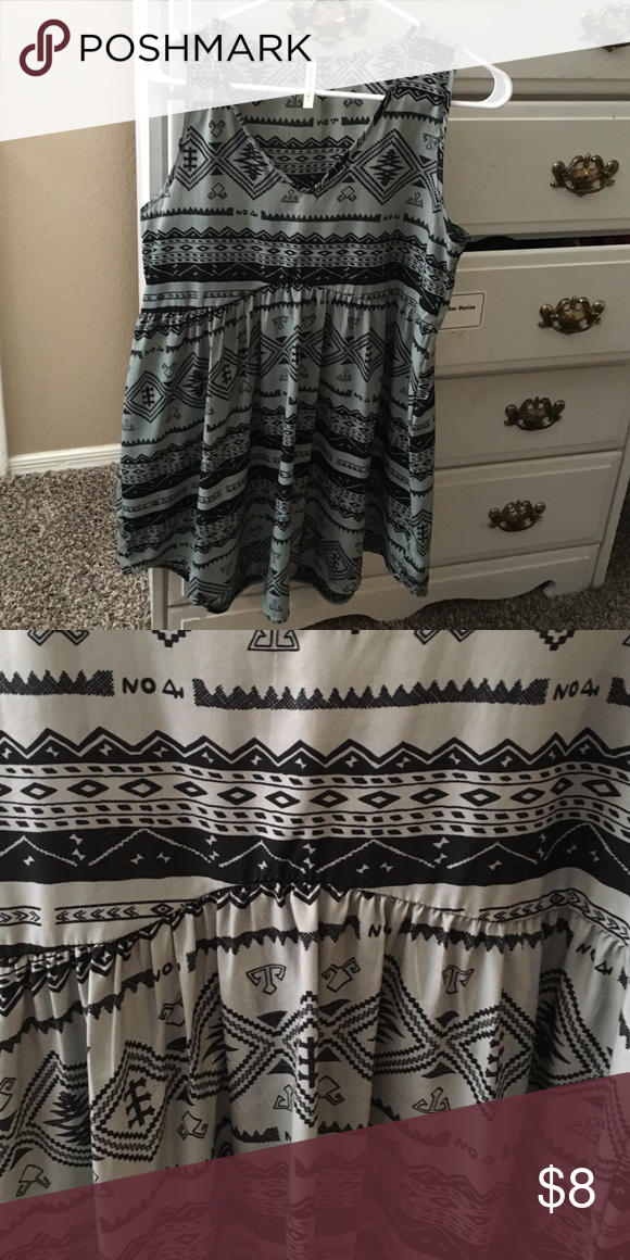 Tribal print dress Size small, green color with black pattern. Looks cute with leggings since it fits short. Audrey 3 + 1 Dresses