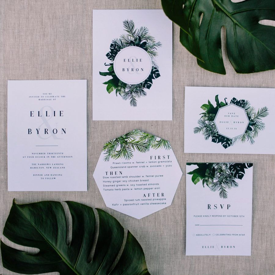 real simple unique wedding invitations%0A modern jungleinspired wedding stationery  greenery