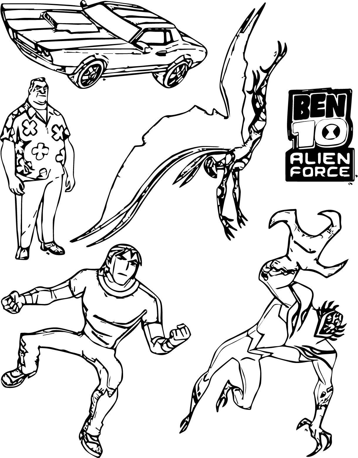 Nice Five Character Ben10 Benten Coloring Page