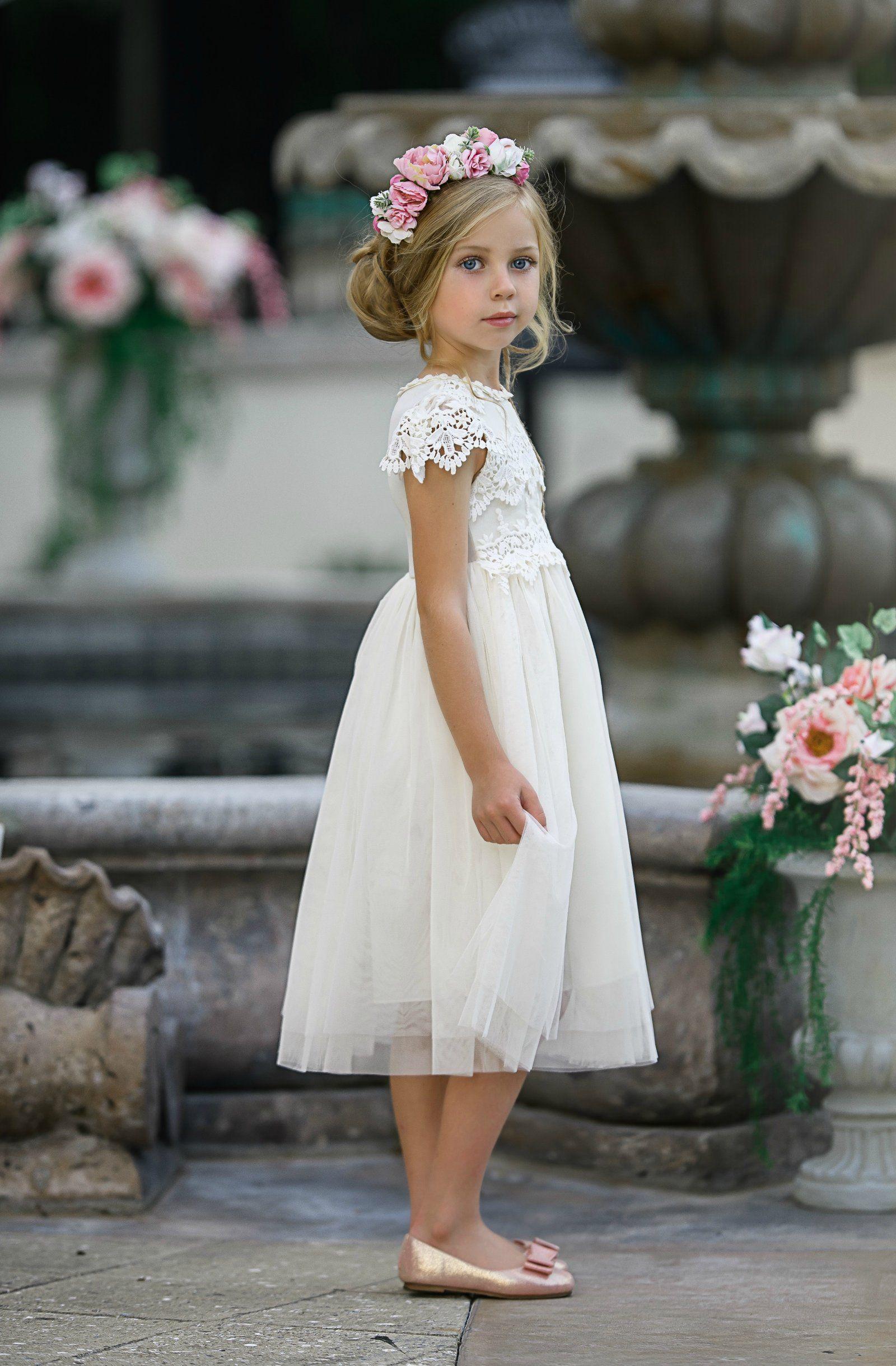 Luciana Cap Sleeve Lace Flower Girl Dress Ivory #20 ...  Ivory Lace Vintage Flower Girl Dress